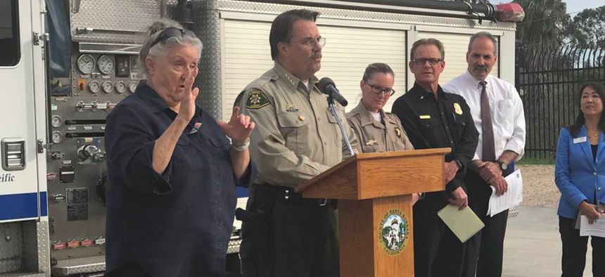Santa Barbara County Sheriff Bill Brown speaks during a news conference on Monday.