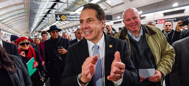 New York Gov. Andrew Cuomo at the opening of the Second Avenue Subway in New York City.