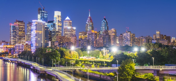 Philadelphia's skyline at night in 2017.