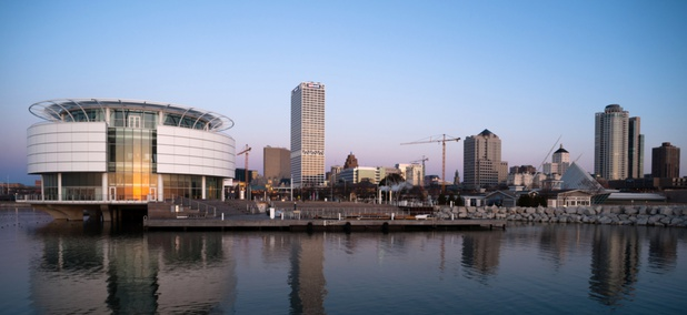 The downtown waterfront in Milwaukee, Wisconsin