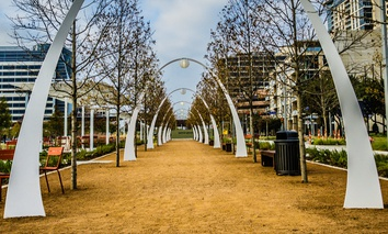Klyde Warren Park in built on top of the Woodall Rodgers Freeway in downtown Dallas.