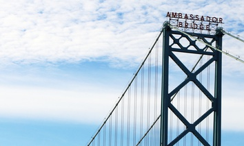 The Ambassador Bridge links Detroit with Windsor, Ontario and is an important U.S.-Canada border crossing.