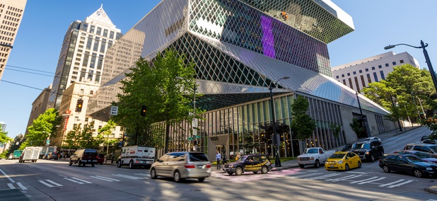 Seattle's Central Library stands at Fourth Avenue and Madison Street in the central business district.