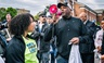 """Columbia, S.C. Mayor Steve Benjamin speaks to a crowd of march participants before embarking on the """"March for Our Lives"""" through downtown Columbia on March 24."""