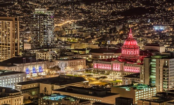 Looking at City Hall at night in San Francisco, California