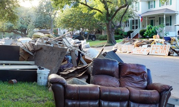 Debris from a flooded Houston neighborhood following Hurricane Harvey in August 2017.