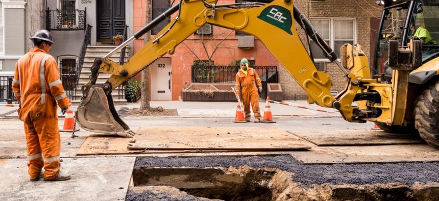 Street construction in New York City.