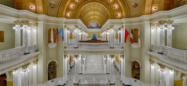 The grand staircase and rotunda of the South Dakota State Capitol