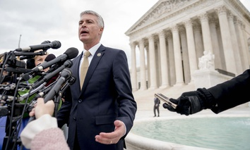 South Dakota Attorney General Marty Jackley speaks outside the Supreme Court, on Tuesday, April 17, 2018