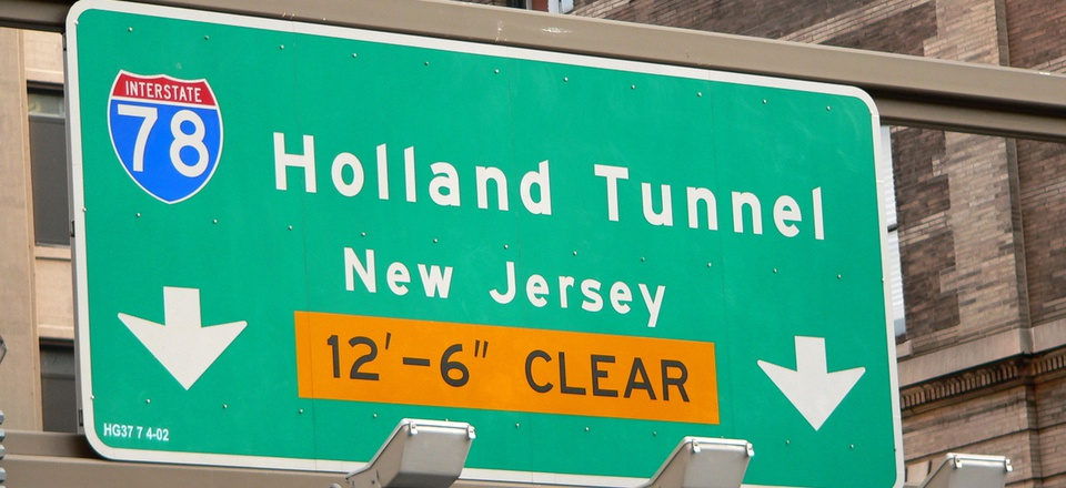 The entrance to the Holland Tunnel, which connects New York City with New Jersey.