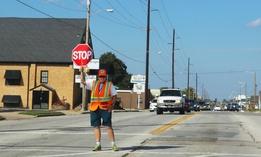 A school crossing guard in Tulsa, Oklahoma