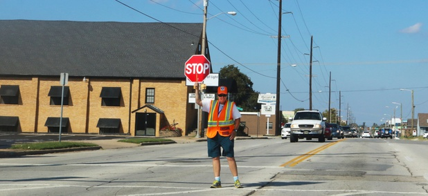 A school crossing guard in Tulsa, Oklahoma