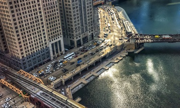 Wacker Drive and the Chicago River in Chicago