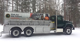 One of the trucks the Michigan Department of Natural Resources uses to transport fish.