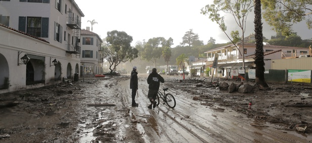 A mudflow in Montecito, California