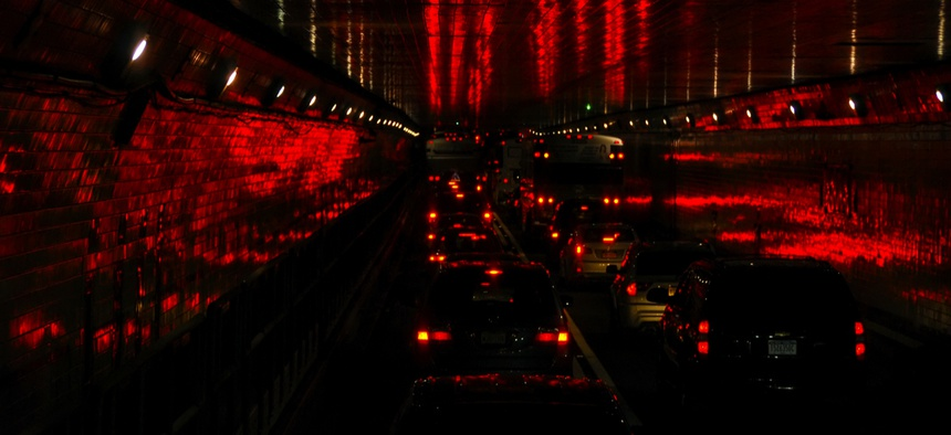 Traffic in the Lincoln Tunnel, which connects New York City with New Jersey.