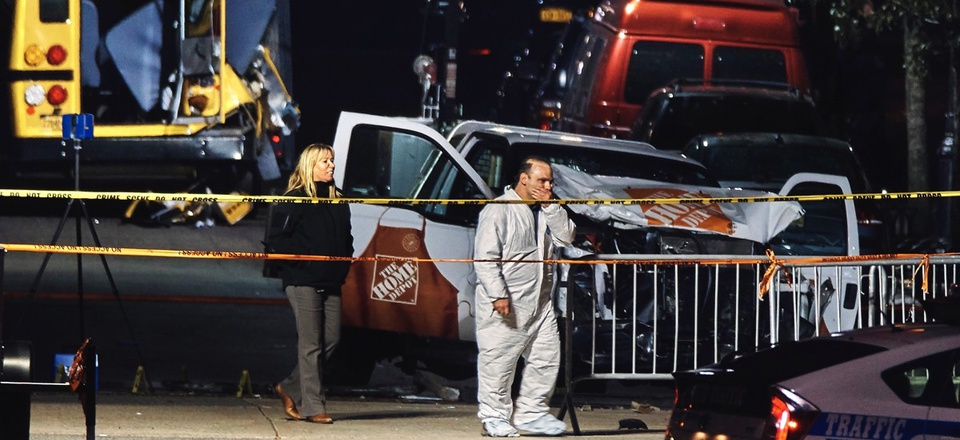 Police work near a damaged Home Depot truck Nov. 1, 2017, after a motorist drove onto a bike path near the World Trade Center memorial, striking and killing several people in New York City.