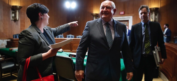 Agriculture Secretary Sonny Perdue, center, leaves the room after testifying on the FY 2019 USDA budget request on April 11, 2018 in Washington D.C.