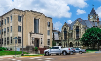 The Victoria County Jail and Courthouse in Victoria, Texas