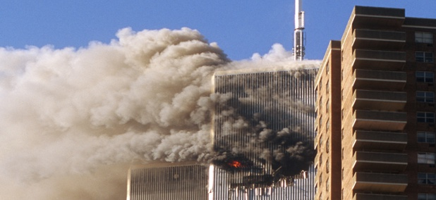 The World Trade Center towers before they collapsed on Sept. 11, 2001.
