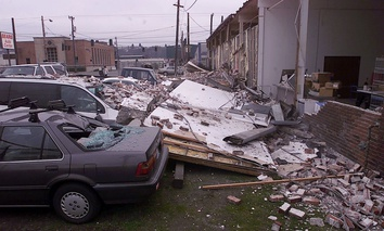 Damage in a south Seattle neighboring following the Feb. 28, 2001 Nisqually earthquake in the Puget Sound region.