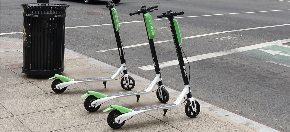 A Lime electronic scooter on L Street NW in Washington, D.C.