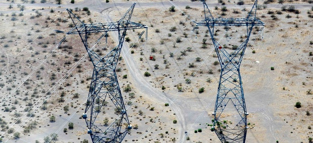 Power lines in the Nevada desert.