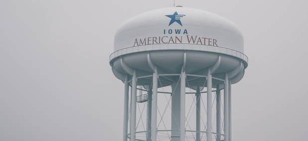 An Iowa American Water Company water tower.
