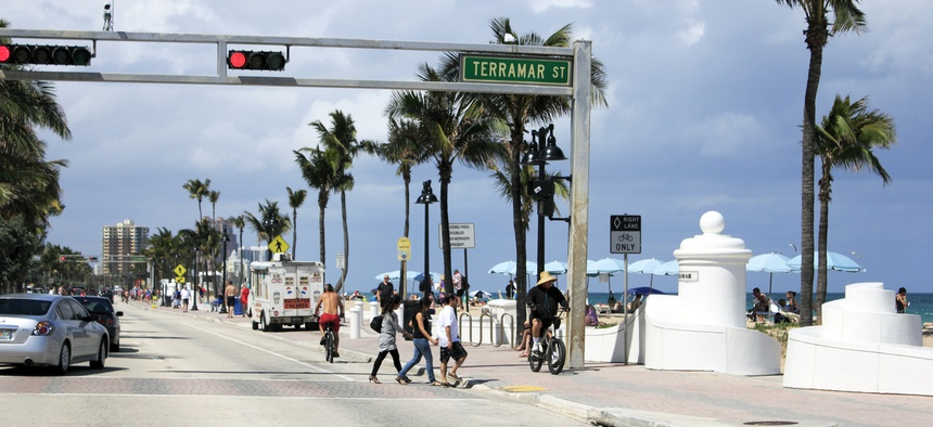 Pedestrians cross State Road A1A in Fort Lauderdale, Florida