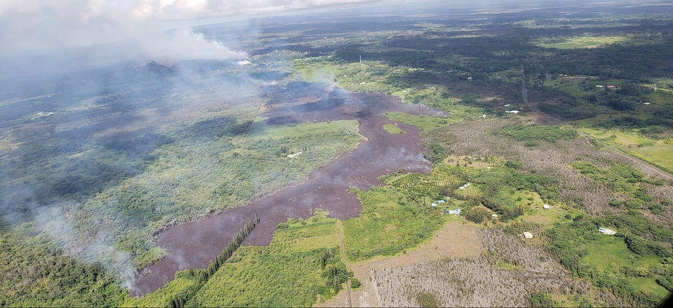 An aerial view of an active lava flow near Kilauea on the Big Island.