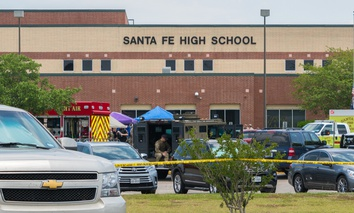 Santa Fe High School in Santa Fe, Texas, the scene of this past week's deadly school shooting.