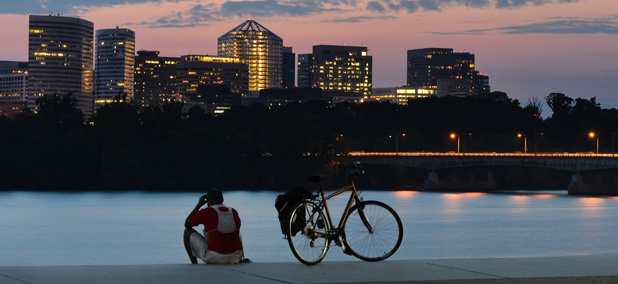 Arlington, Virginia sits across the Potomac River from Washington, D.C.
