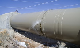 A water pipeline in the Owens River Valley in California.
