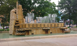 "The ""Fountain of the Pioneers"" previously stood in Bronson Park in downtown Kalamazoo, Michigan"