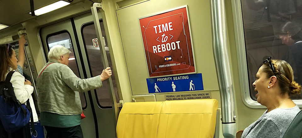 The Pivot to Colorado promotional campaign was deployed to the Bay Area Rapid Transit rail system.