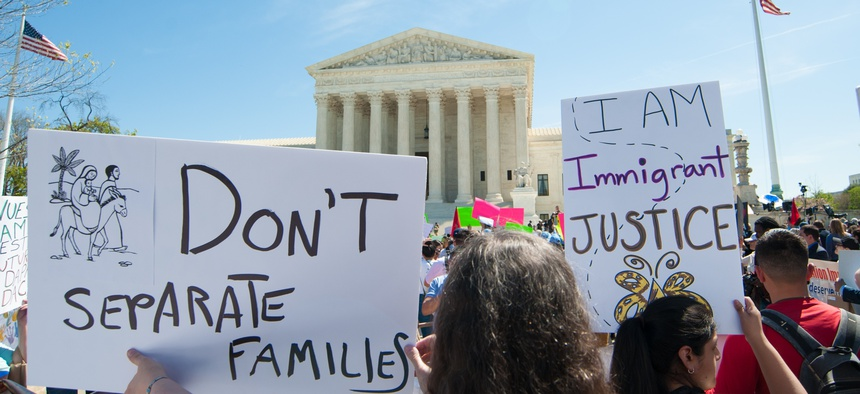 Supporters of President Obama's DAPA and DACA policies on immigration and deportation gathered at the Supreme Court during oral argument in Washington, DC on April 18, 2016.