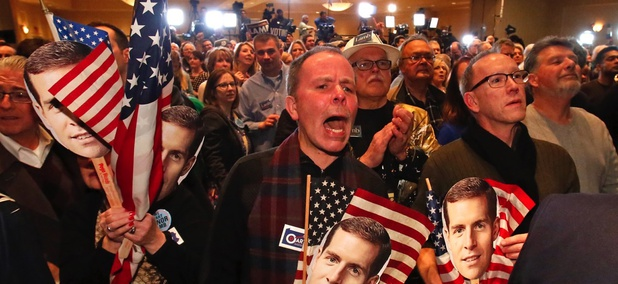 Supporters watch early returns at the election night party of Conor Lamb, now the Democratic representative of Pennsylvania's 18th Congressional District, in Canonsburg on March 13.