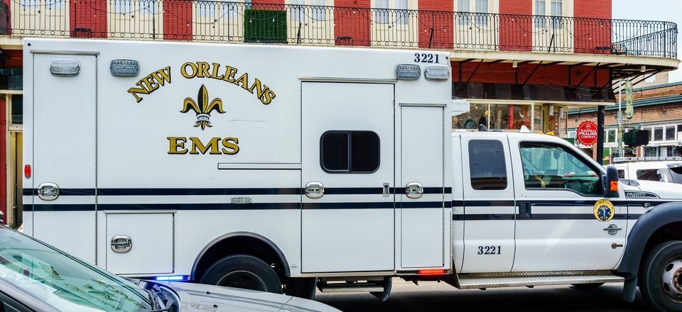 New Orleans, Aug 20, 2017: Emergency Medical Services (EMS) vehicle stationed along Decatur Street in the French Quarter area.