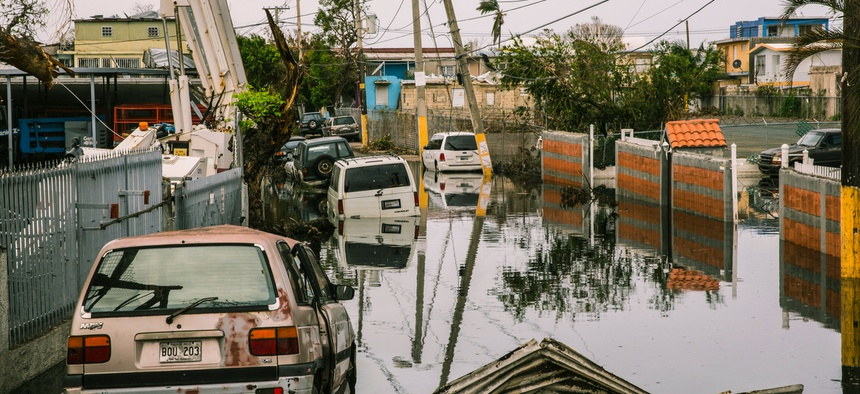 November 9, 2017: Streets in the Ocean Park sector of San Juan remain flooded weeks after Hurricane María utterly devastated the entire island of Puerto Rico.