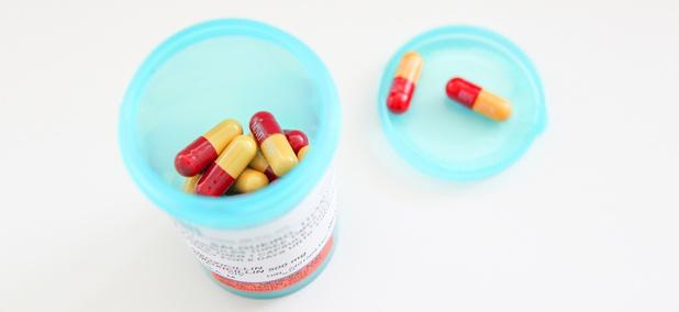 Prescription drugs in a bottle