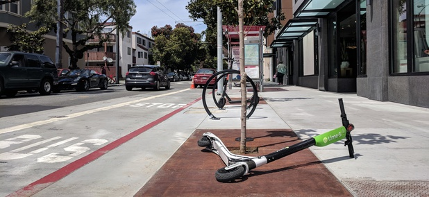 A Lime electronic scooter along a San Francisco street on May 6.