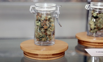 January 1, 2018. California allows the sale and use of recreational marijuana by adults over 21 years old. Marijuana buds and hash for sale in a dispensary in Los Angeles.