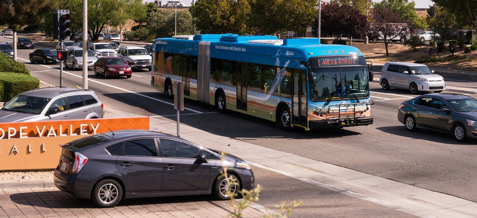 An example of a 60-foot articulated electric bus used by the Antelope Valley Transit Authority in California.