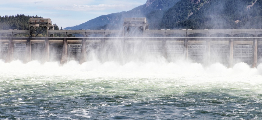 The Bonneville Dam on the Columbia River near Portland, Oregon