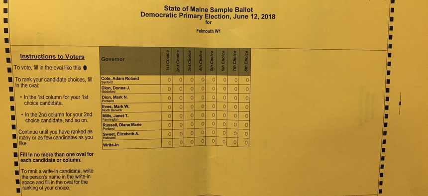 A sample ballot from Tuesday's primary election in Maine.
