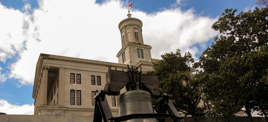 Tennessee State Capitol and historic bell, Nashville, Tennessee.