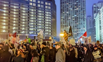 Protesters in Chicago the night of Donald Trump's inauguration as president.