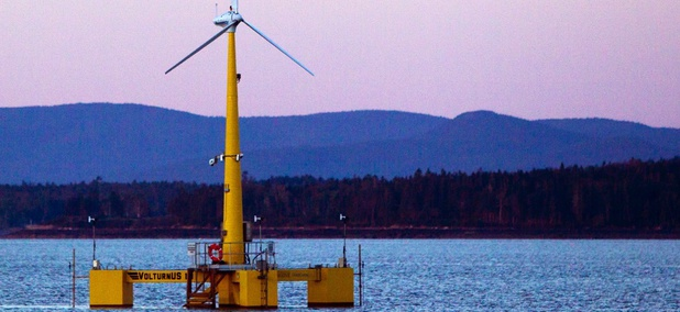 University of Maine's prototype wind turbine generator off the coast of Castine, Maine.