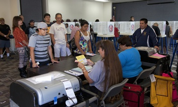 Voters at a polling station in the 2012 Presidential Election on Nov. 06, 2012 in Ventura County, California.