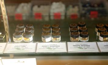 Marijuana buds and hash for sale in January in a dispensary in Los Angeles.